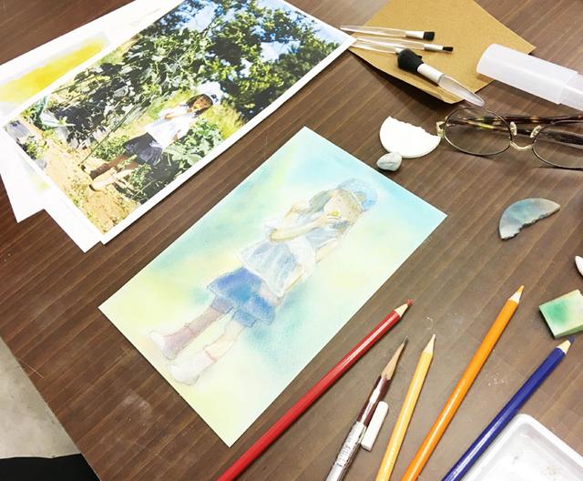 パステル色鉛筆体験講座/千葉の絵画教室